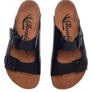 Moosefield Black Matte Two-Strap Leather Sandal